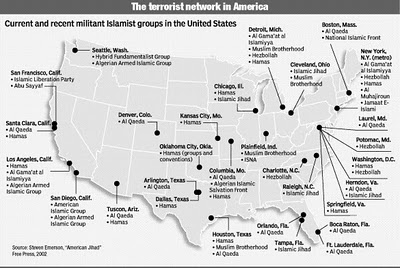 SLEEPER CELLS IMPLANTED IN ANY CITY USA AWAITING ORDERS TO - Map of us terrorist attacks